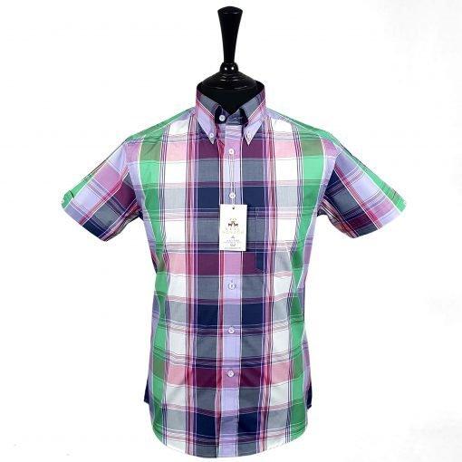 Purple Green Red Check Short Sleeves Shirt