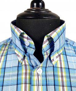 Sky Neon Check Short Sleeves Shirt