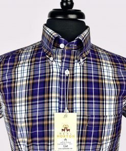 Purple Orange Check Short Sleeves Shirt