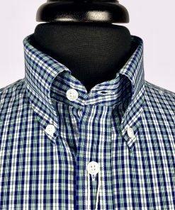 Racing Green Blue Gingam Short Sleeves Shirt
