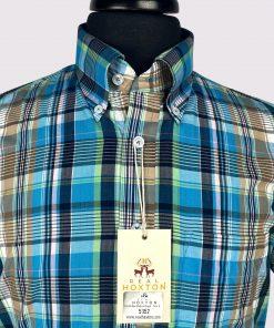 Cobalt Blue Madras Check Short Sleeves Shirt