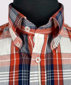 Orange Check Short Sleeves Shirt